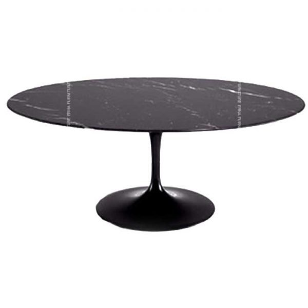 Eero-Saarinen-Tulip-Style-Oval-Dining-Table,-Black-Marble