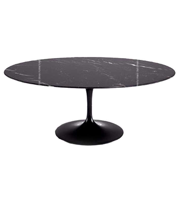 Eero-Saarinen-Tulip-Style-Oval-Dining-Table,-Black-Marble
