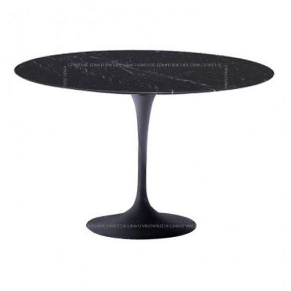 Eero Saarinen Tulip Style Round Dining Table - Black Marble