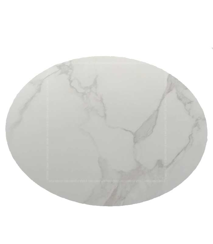 Tulip Style Round Marble Dining Table White and Black Marble (3)