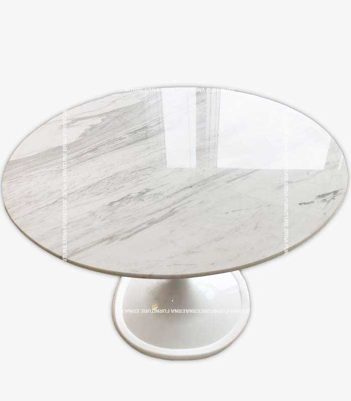 Tulip Style Round Marble Dining Table White and Black Marble (5)