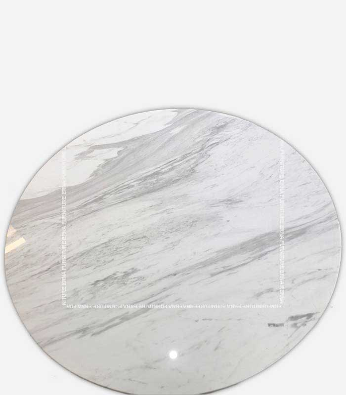 Tulip Style Round Marble Dining Table White and Black Marble (7)