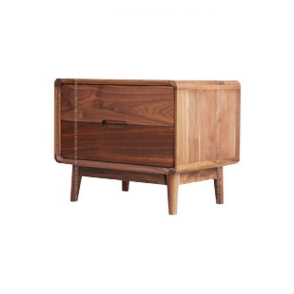 Martin Solid Oak Wood Bed Side Table Walnut Color
