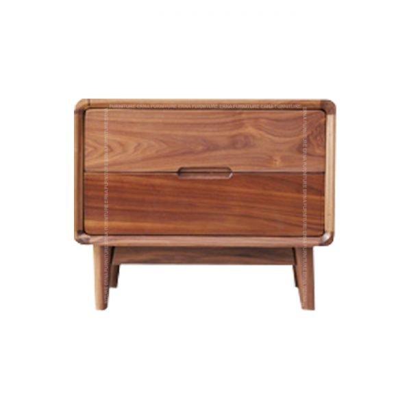 Martin Solid Oak Wood Bed Side Table Walnut