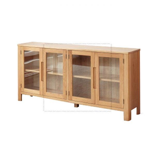 Muzgli Solid Oak Wood 3 and 4 Glass Doors Cabinet (3)