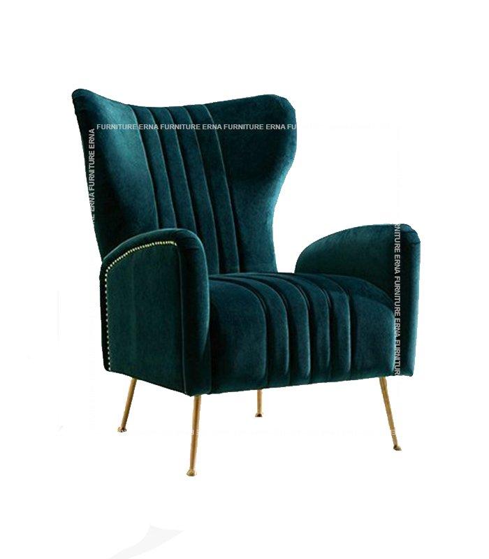 Trosa Italian Velvet Fabric Sofa ArmChair Light Green
