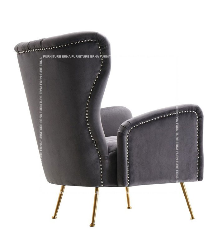Trosa Italian Velvet Fabric Sofa ArmChair Grey