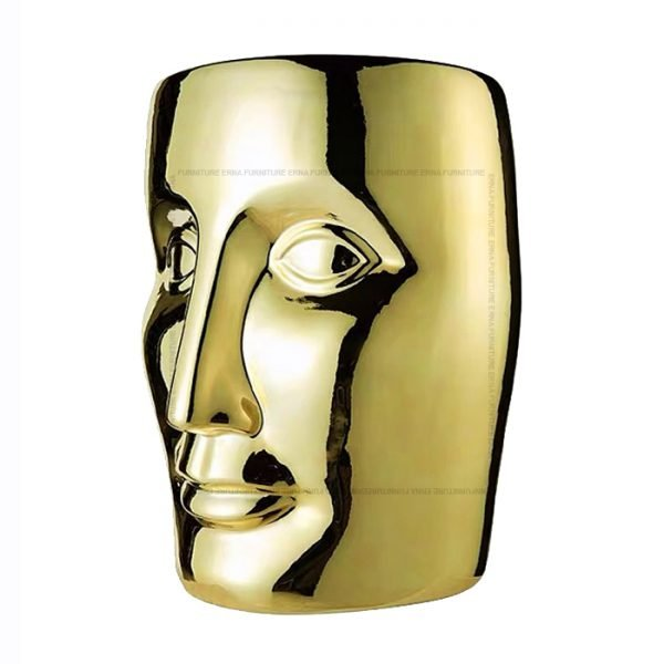 xO-Bonze Style Ceramic Head Stool Gold