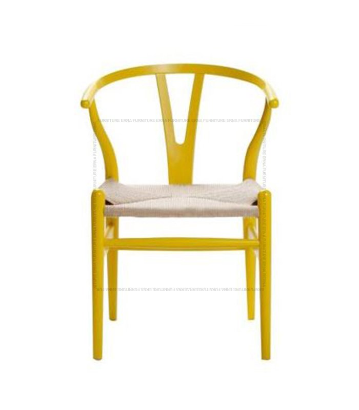 Hans J. Wegner CH 24 Style Y Chair- Wishbone Chair Yellow With Natural Cord