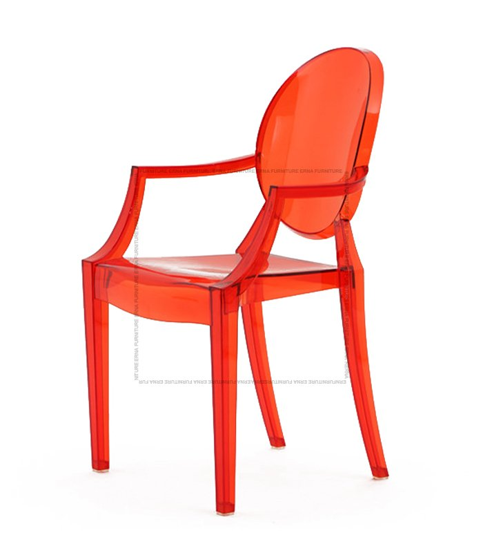 Kartell Louis Ghost Style Armchair Transparent Red