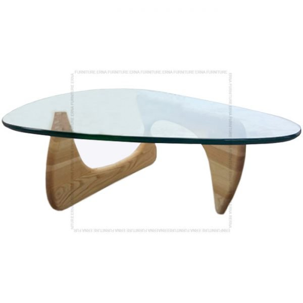 Noguchi Style Glass Coffee Table Oak Legs