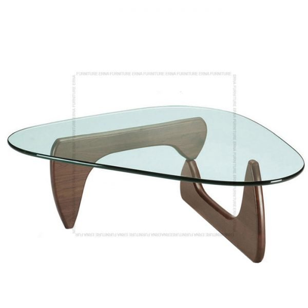 Noguchi Style Glass Coffee Table Walnut Legs