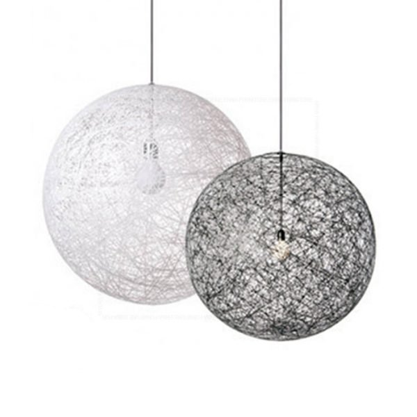 Woven Ball Pendant Lamp White and Black