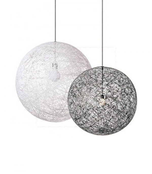 Woven Ball Pendant Lamp White and Black