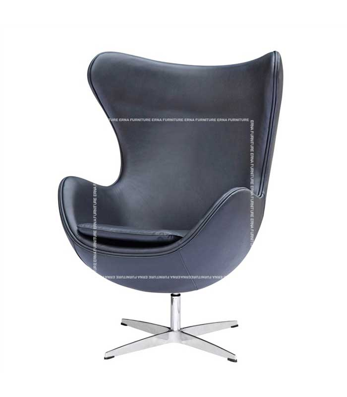 Arne-Jacobsen-Style-Leather-Egg-Chair-Lounge-Chair-Black