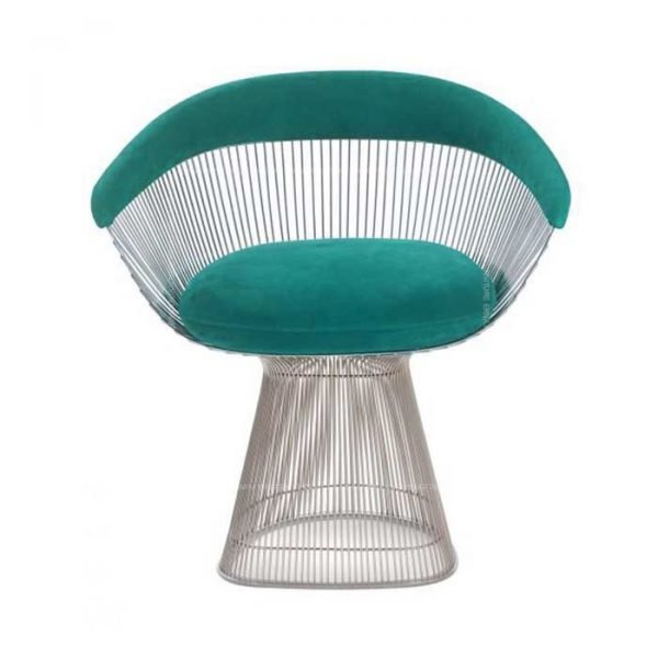 Warren-Platner-Style-Silver-Wire-Dining-Chair-Light-Blue