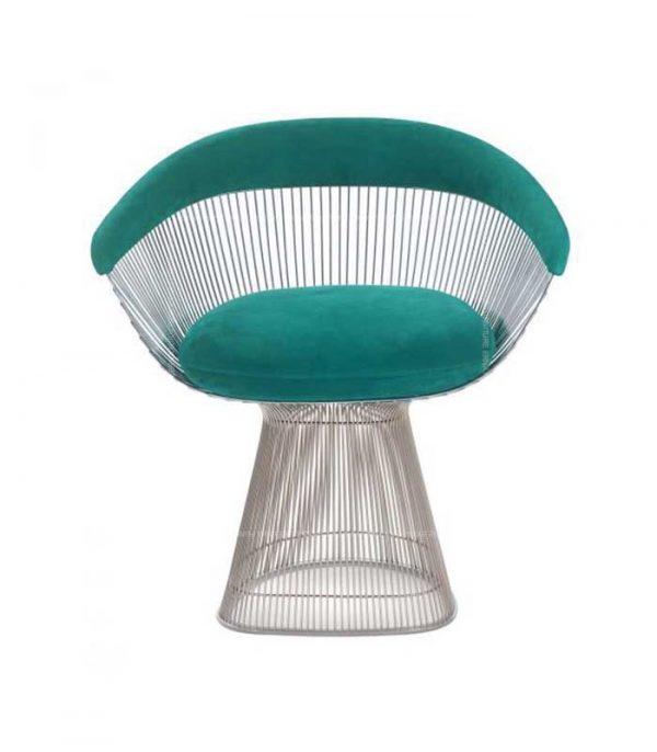 Warren-Platner-Style-Silver-Wire-Dining-Chair-Light-Blue