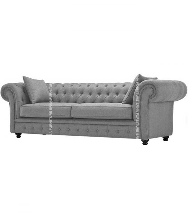 1,2 and 3 Seater Chesterfield Fabric Sofa Grey (2)