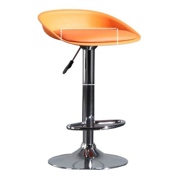 Dallas Leather Bar Stool- Orange