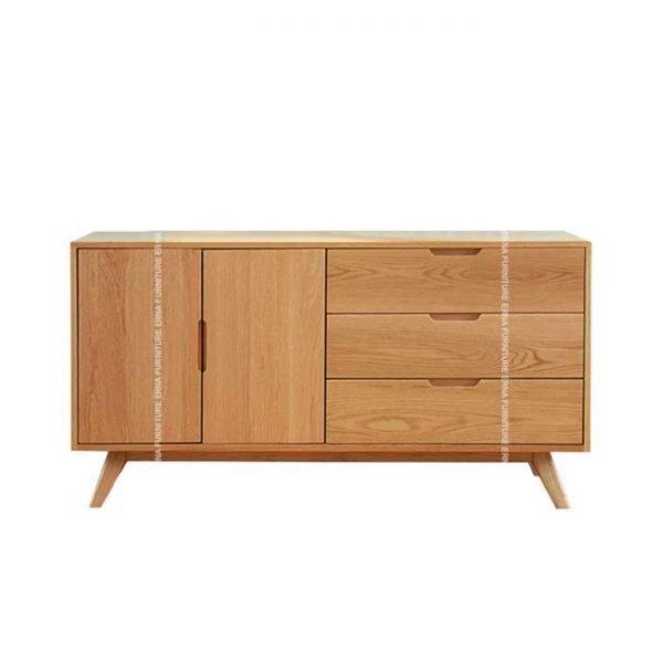 Asly Sideboard Storage Cabinet - Solid Oak Wood (3)