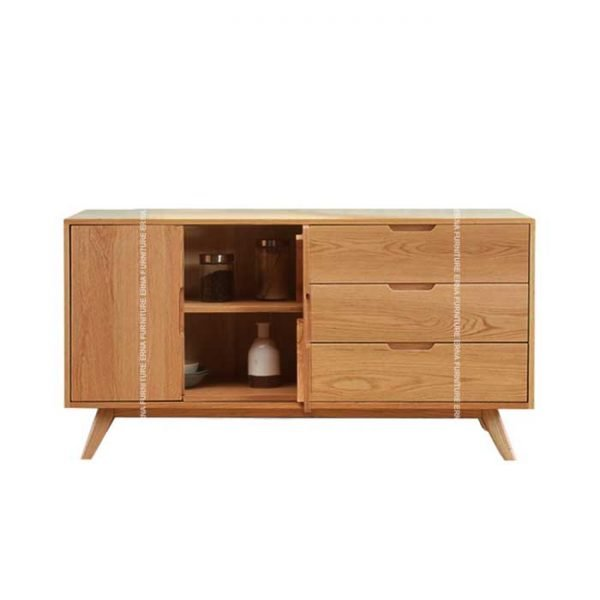 Asly Sideboard Storage Cabinet - Solid Oak Wood (4)