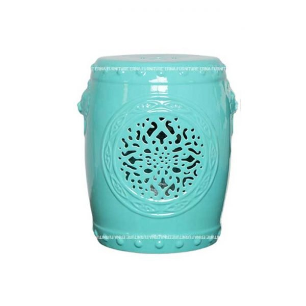 Glazed Ceramic Drum Stool Turquoise