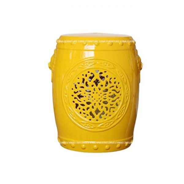 Glazed Ceramic Drum Stool Yellow