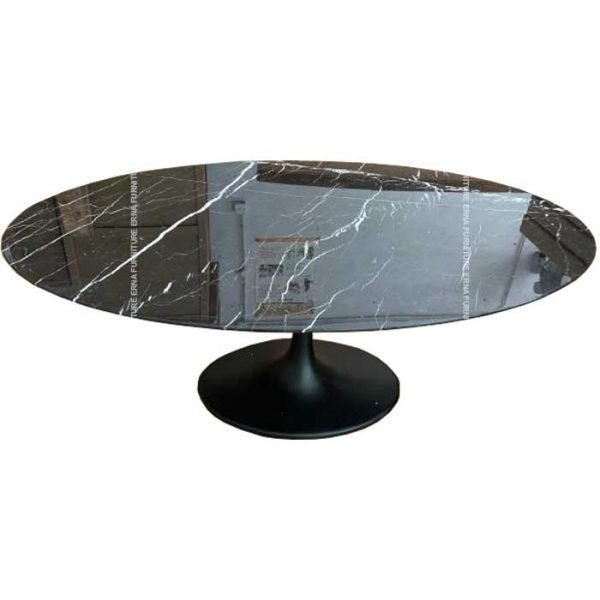 Eero-Saarinen-Tulip-Style-Oval-Dining-Table--Black-Marble B1